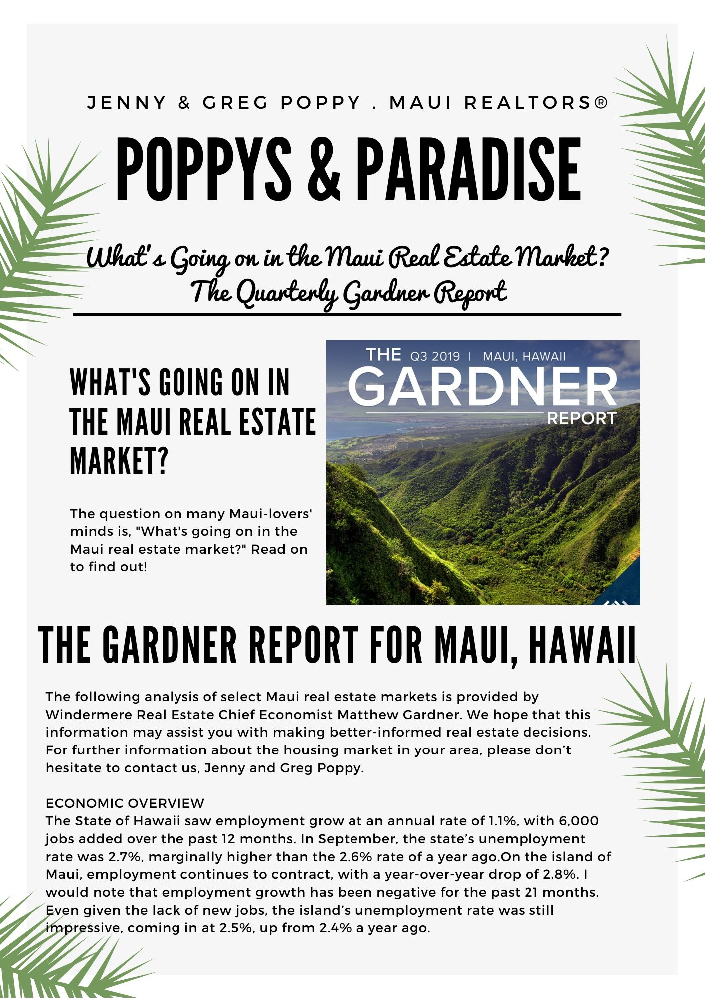 What's Going on in the Maui Real Estate Market? The Quarterly Gardner Report